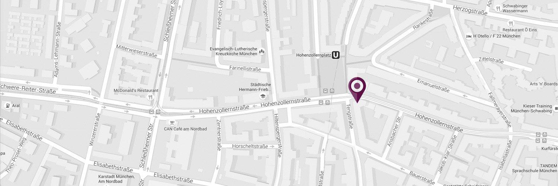 Lage Zahnarztpraxis Dr. Barth in München Schwabing